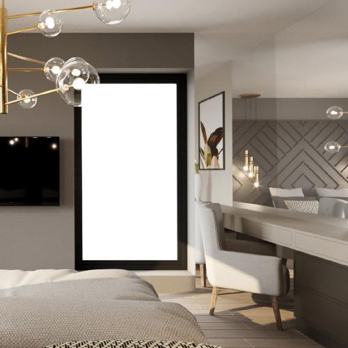 Projekt wnętrz - sypialnia w ciepłych barwach. Styl elegancki, nowoczesny, dekoracja ścienna. M2 Architektura Katowice - Pracownia Projektowa Katowice