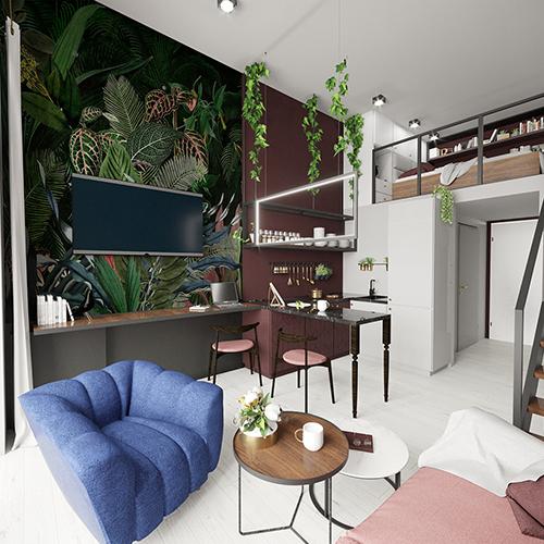 Projekt wnętrz - salon, mikroapartament, Wrocław Minimaxy, Homebook. Styl eklektyczny. M2 Architektura Katowice - Pracownia Projektowa Katowice