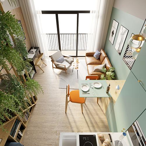Projekt wnętrz - salon z kuchnią, apartament - mikroapartament, Wrocław Minimaxy, Homebook. M2 Architektura Katowice - Pracownia Projektowa Katowice