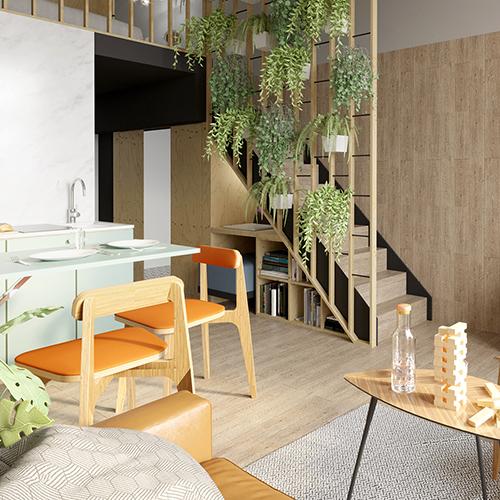 Projekt wnętrz - salon z kuchnią, mikroapartament, Wrocław Minimaxy, Homebook. M2 Architektura Katowice - Pracownia Projektowa Katowice