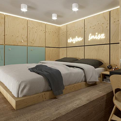 Projekt wnętrz - sypialnia, mikroapartament, Wrocław Minimaxy, Homebook, Paradyż. M2 Architektura Katowice - Pracownia Projektowa Katowice