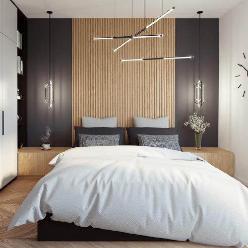 Projekt wnętrz - sypialnia. M2 Architektura Katowice - Pracownia Projektowa Katowice