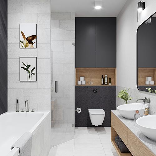Projekt wnętrz - łazienka. M2 Architektura Katowice - Pracownia Projektowa Katowice
